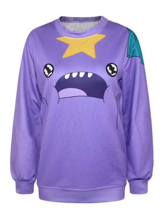 ladies Star Face Print Long Sleeve Sweatshirt - PURPLE ONE SIZE(FIT SIZE XS TO M)