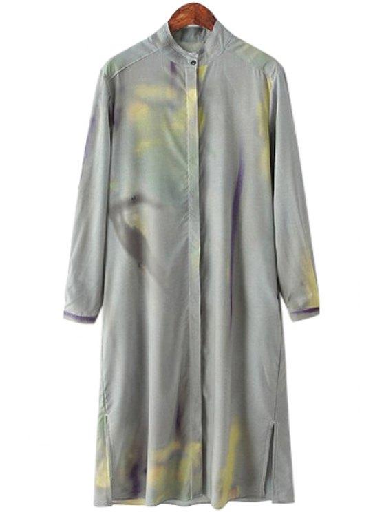 buy Print Stand Neck Long Sleeve Dress - DEEP GRAY S