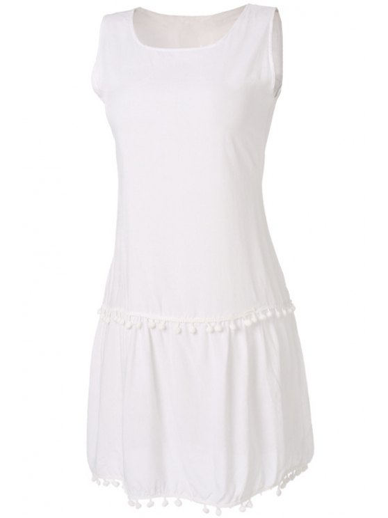 fashion Small Ball Splicing Solid Color Sleeveless Dress - WHITE S