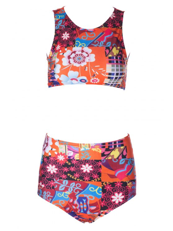 Flower Print High Waisted Bikini Set - COLORMIX XL Mobile
