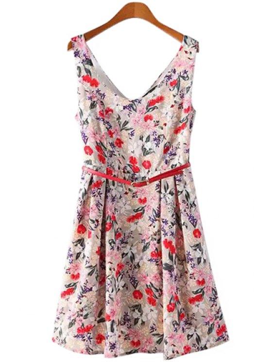 buy Full Floral V-Neck Sleeveless Dress - RED S