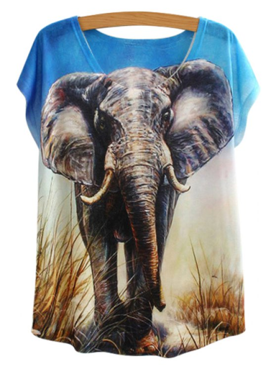 fashion Elephant Print Short Sleeve T-Shirt - BLUE ONE SIZE(FIT SIZE XS TO M)