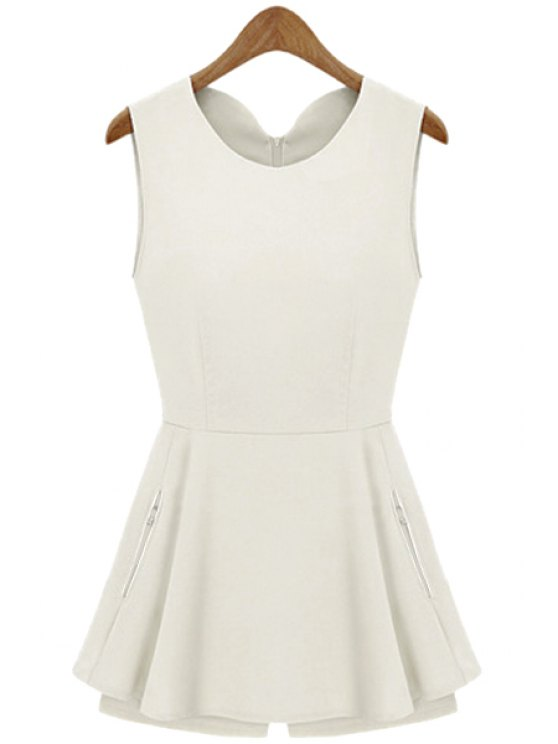 online Solid Color Flounce Sleeveless Romper - WHITE S