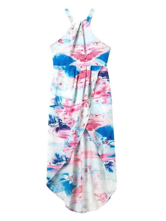 unique Floral Print Asymmetrical Back Zipper Dress - LIGHT BLUE S
