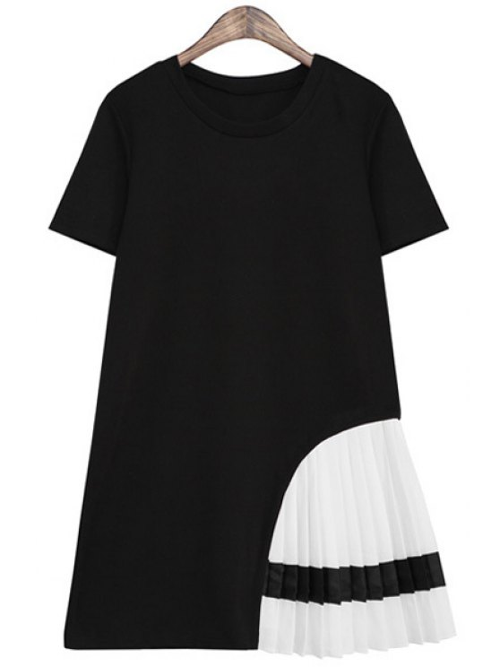 fashion Pleated Spliced Short Sleeve Dress - BLACK ONE SIZE(FIT SIZE XS TO M)