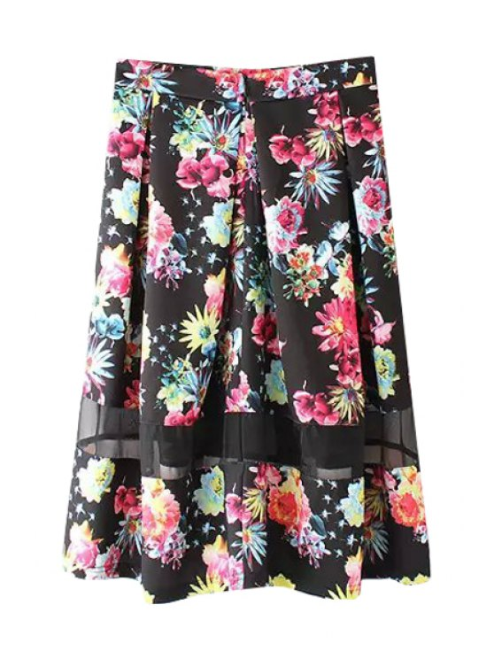 affordable Colorful Floral Print Voile Splicing Ruffle Long Skirt - BLACK S