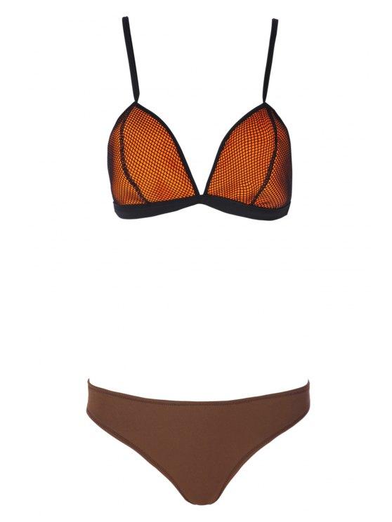 shops Mesh Spliced Spaghetti Straps Bikini Set - COFFEE S