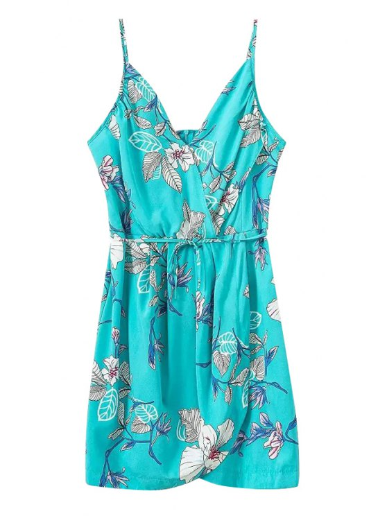 ladies Leaves Floral Print Tie-Up Sleeveless Dress - LIGHT BLUE S