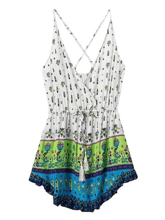 womens Tiny Floral Print Tie-Up Sleeveless Dress - GREEN S