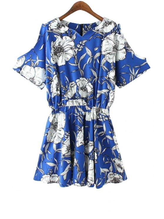 shop Sweetheart Neck White Floral Print Dress - BLUE S