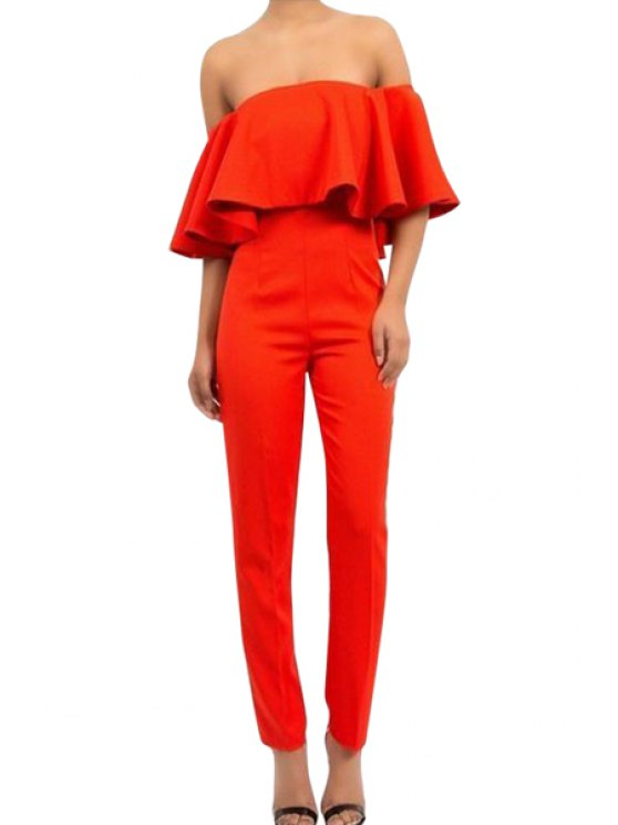 shop Solid Color Strapless Ruffled Jumpsuits - JACINTH M