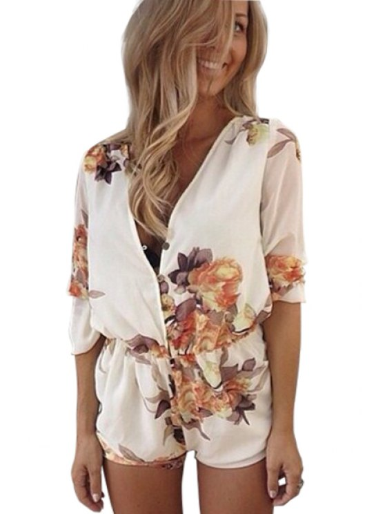 lady Plunging Neck Floral Print Romper - WHITE S