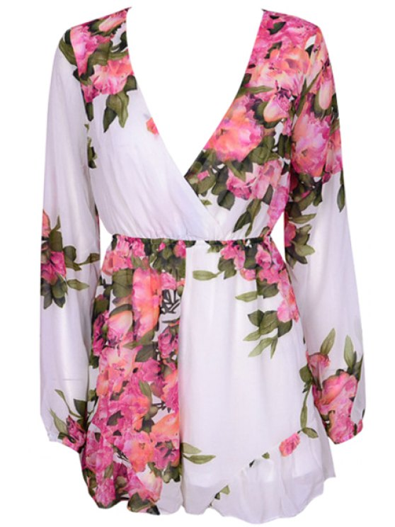 shops Floral Plunging Neck Long Sleeve Romper - WHITE S