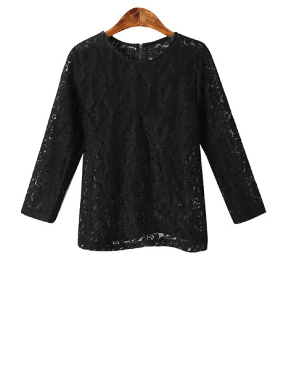 lady Floral Pattern Openwork Lace T-Shirt - BLACK S