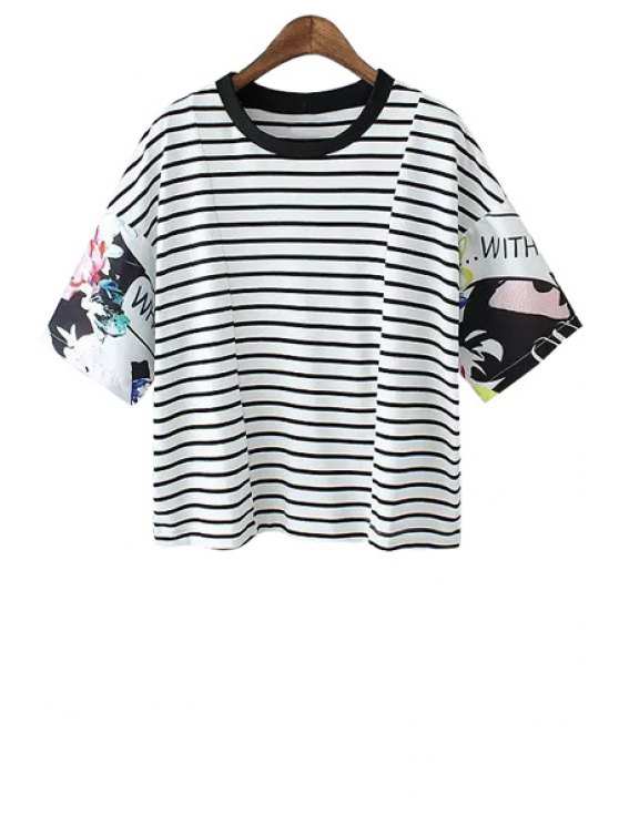outfits Print Striped Short Sleeves T-Shirt - STRIPE S