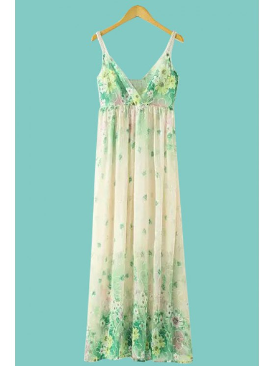 fancy Floral Embroidery Spaghetti Straps Dress - GREEN ONE SIZE(FIT SIZE XS TO M)