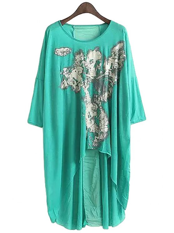 latest Print High-Low Hem 3/4 Sleeve T-Shirt - GREEN ONE SIZE(FIT SIZE XS TO M)