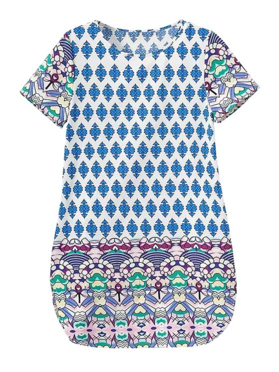 sale Color Block Print Side Slit Dress - BLUE S