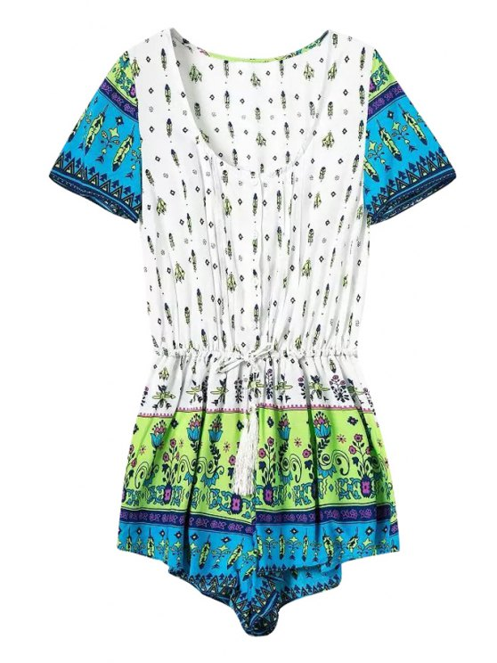 affordable Feather Floral Print Tie-Up Romper - COLORMIX S