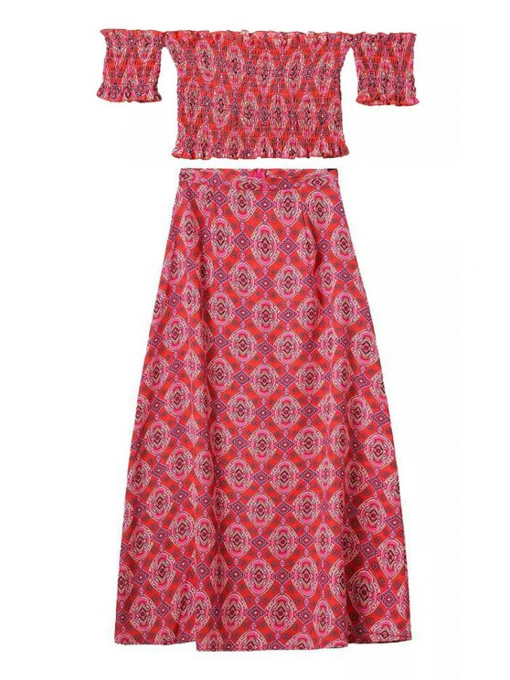 womens Floral Print Short Sleeve T-Shirt + Long Skirt - RED S