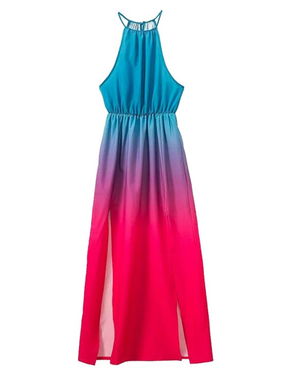 lady Color Block Slit Sleeveless Dress - BLUE AND RED S