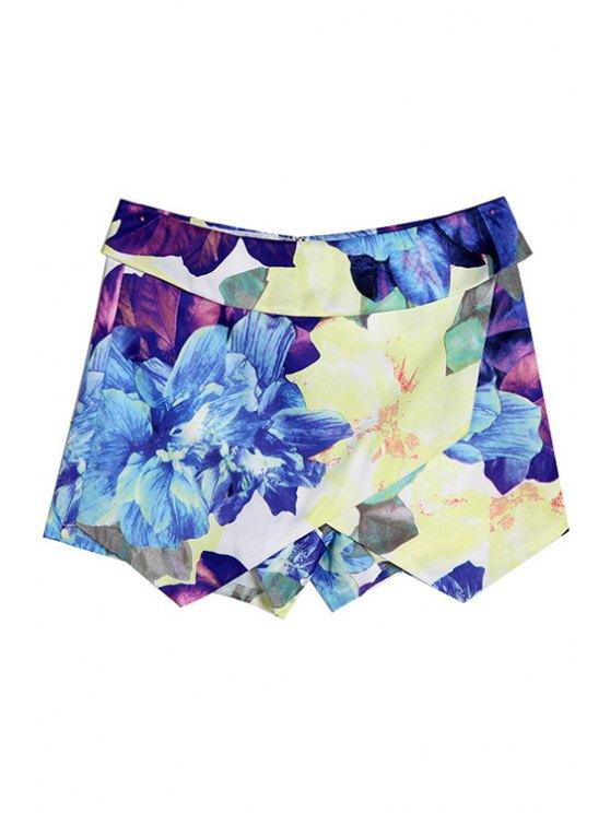 lady Color Block Floral Print Asymmetrical Shorts - WATER BLUE S