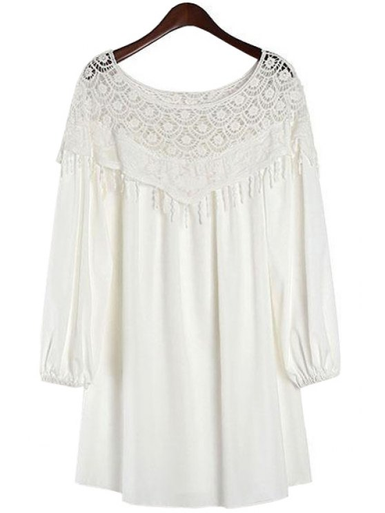 hot Lace Splicing Solid Color Lantern Sleeve Dress - WHITE ONE SIZE(FIT SIZE XS TO M)
