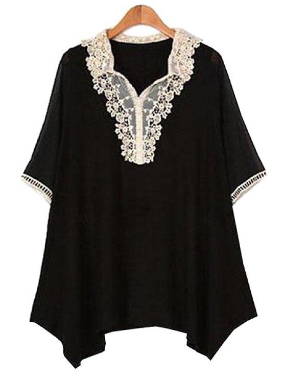 ladies V-Neck Lace Splicing Half Sleeve T-Shirt - BLACK L