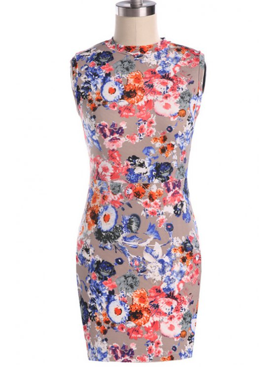 online Round Neck Colorful Floral Print Dress - JACINTH S