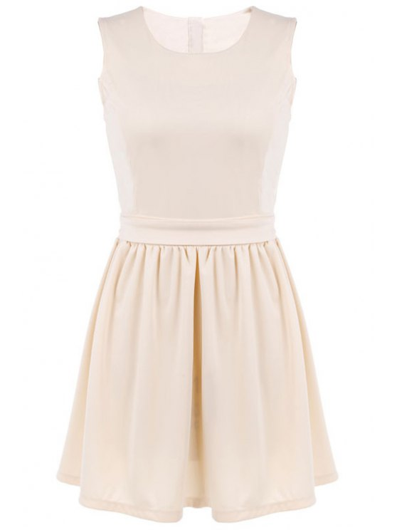 women Solid Color Back Openwork Tie-Up Dress - APRICOT M
