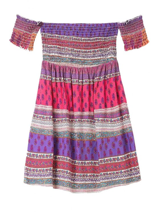 fancy Ethnic Print Slash Neck Dress - RED S