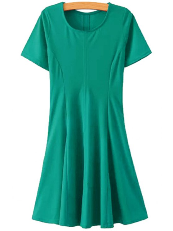 outfits Short Sleeves Solid Color A-Line Dress - GREEN S