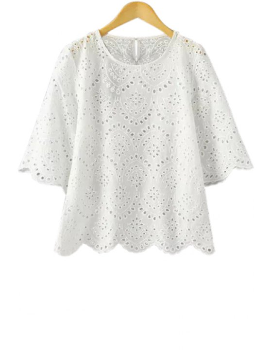 hot White Hollow Half Sleeve Blouse - WHITE S