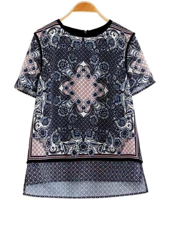sale Retro Print Spliced Short Sleeve Blouse - BLACK S