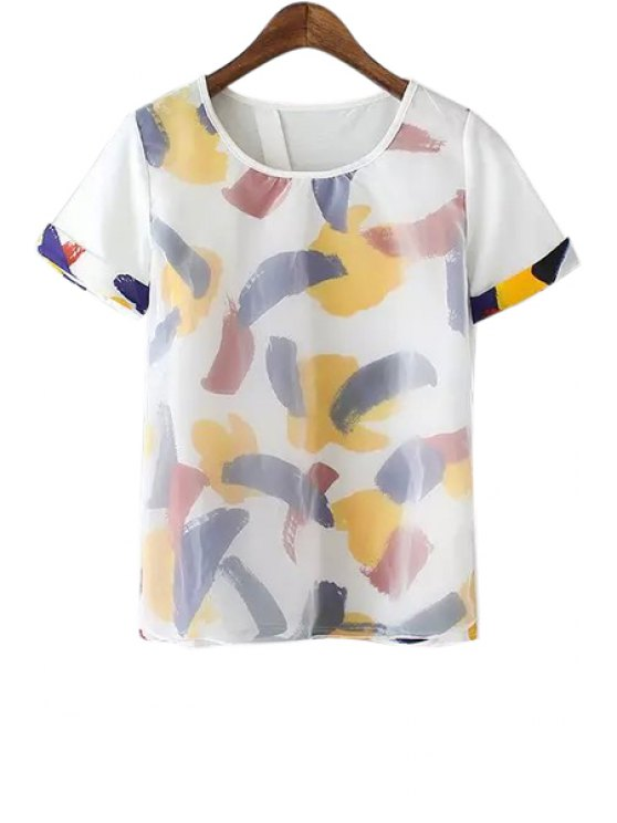 online Floral Voile Spliced Short Sleeve T-Shirt - YELLOW S