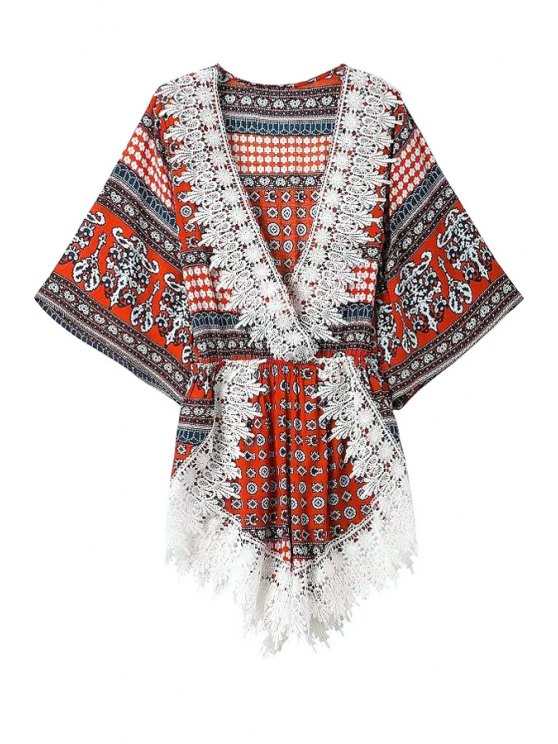 affordable Print Lacework Bat-Wing Sleeve Romper - RED S