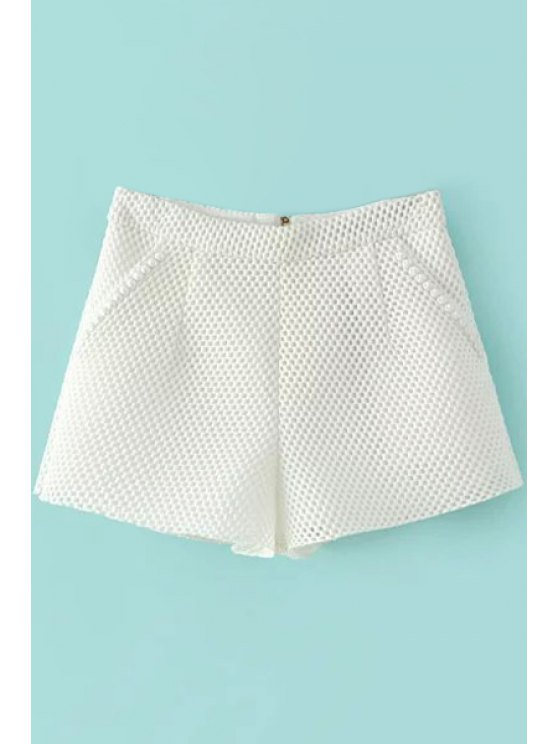 ladies Solid Color Wide Leg Hollow Shorts - WHITE S