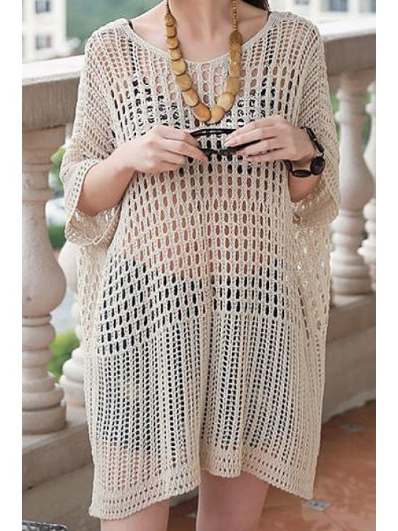 fashion Openwork Batwing Short Sleeve Dress - OFF-WHITE ONE SIZE(FIT SIZE XS TO M)