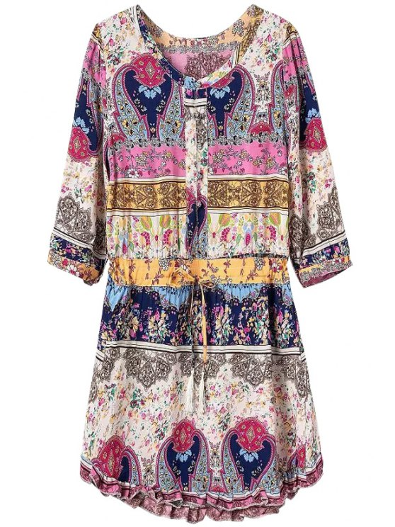 chic Tiny Floral Print Half Sleeves Dress - COLORMIX S