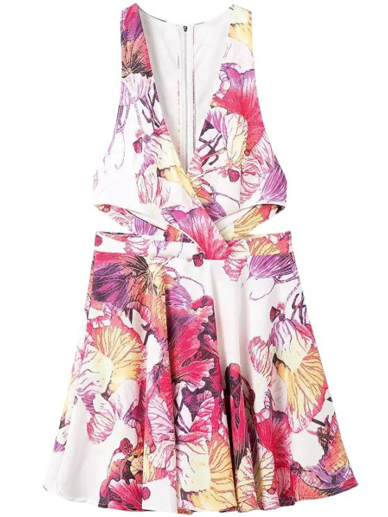 affordable Floral A-Line Sleeveless Dress - ROSE S