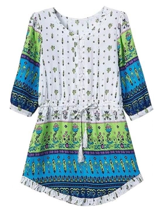 women Print Spliced Half Sleeve Dress - GREEN S