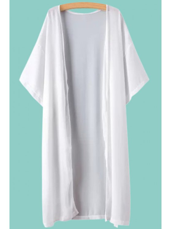 fancy Solid Color Half Sleeve Chiffon Blouse - WHITE ONE SIZE(FIT SIZE XS TO M)