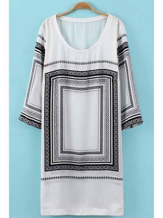 fancy Geometric Pattern 3/4 Sleeve Dress - WHITE AND BLACK S