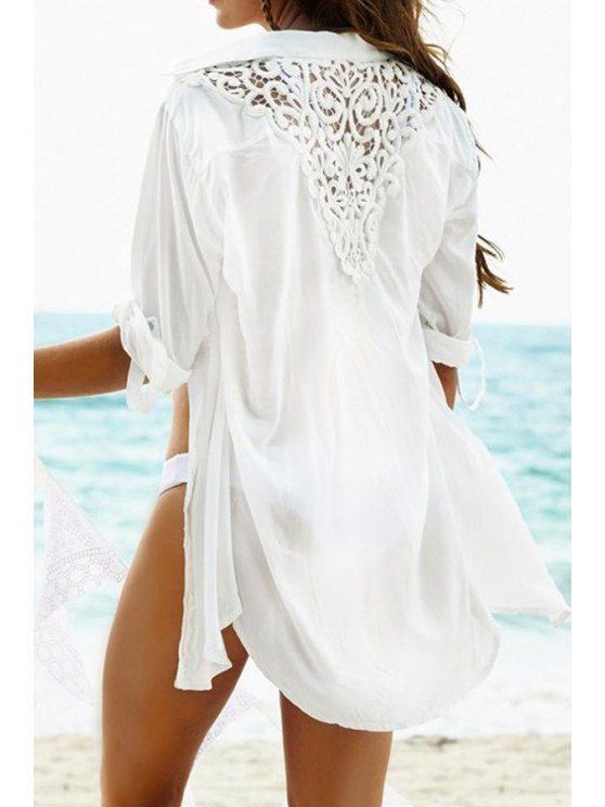 chic Lace Splicing Openwork Long Sleeve Shirt - WHITE ONE SIZE(FIT SIZE XS TO M)