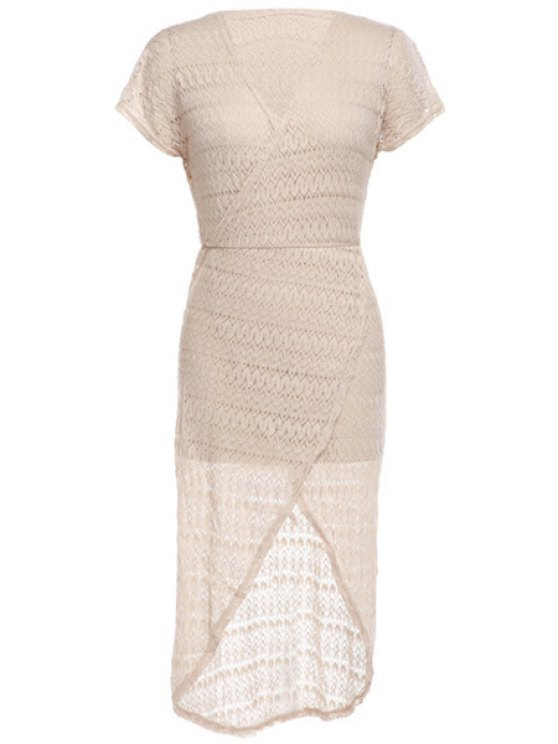 new Short Sleeve Hollow Maxi Dress - APRICOT ONE SIZE(FIT SIZE XS TO M)