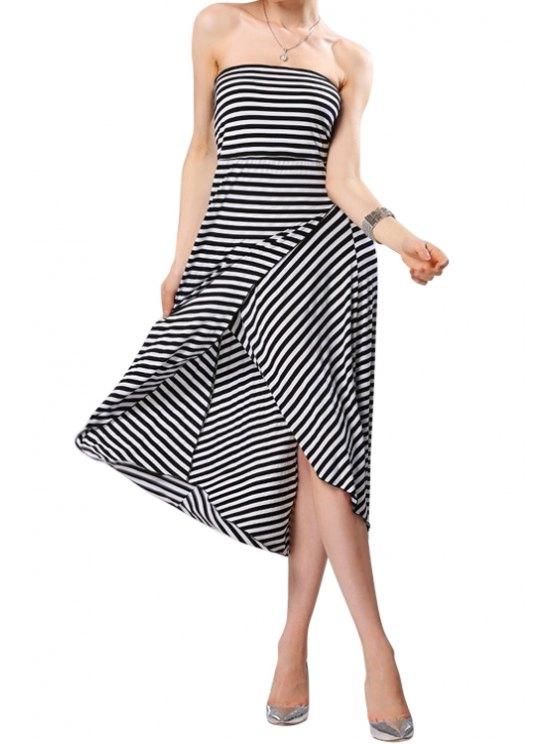 ladies Striped Strapless Irregular Hem Dress - STRIPE XL
