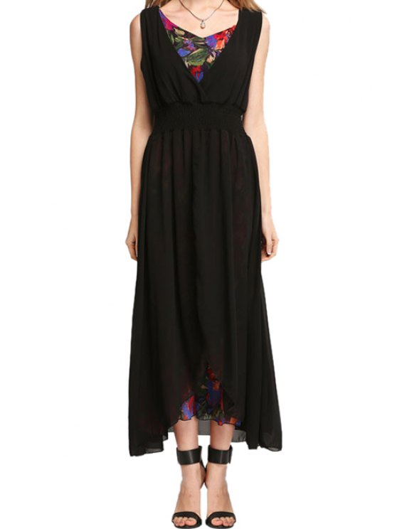 fancy Floral Print Spliced Sleeveless Dress - BLACK S