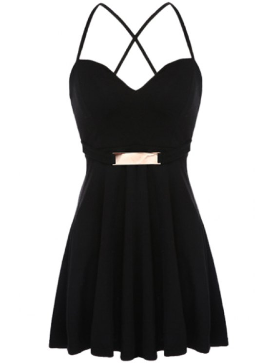 sale Solid Color Sequined Sleeveless Dress - BLACK S
