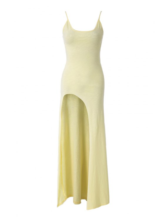 online Solid Color Side Slit Maxi Dress - YELLOW XS