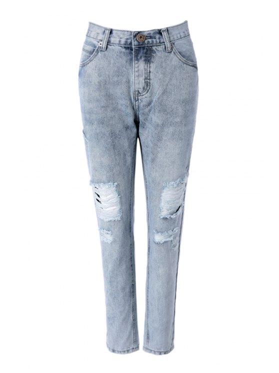 womens Vintage Broken Hole Jeans - LIGHT BLUE S